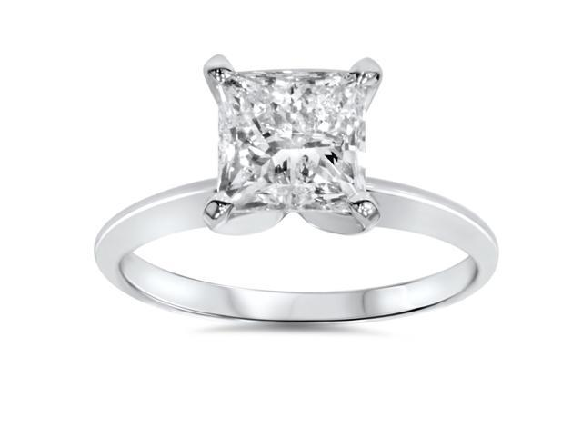 1ct Solitaire Princess Cut Diamond Engagement Ring 14K White Gold Enhanced
