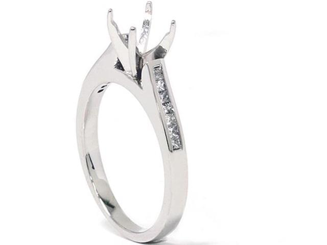 1/2ct Princess Cut Diamond Engagement Semi Mount Ring 14K White Gold