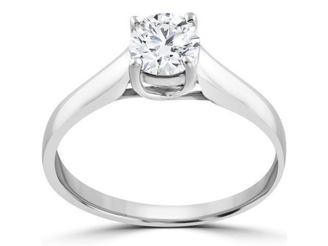 1 ct Round Solitaire Diamond Engagement Ring 14 k White Gold Clarity Enhanced