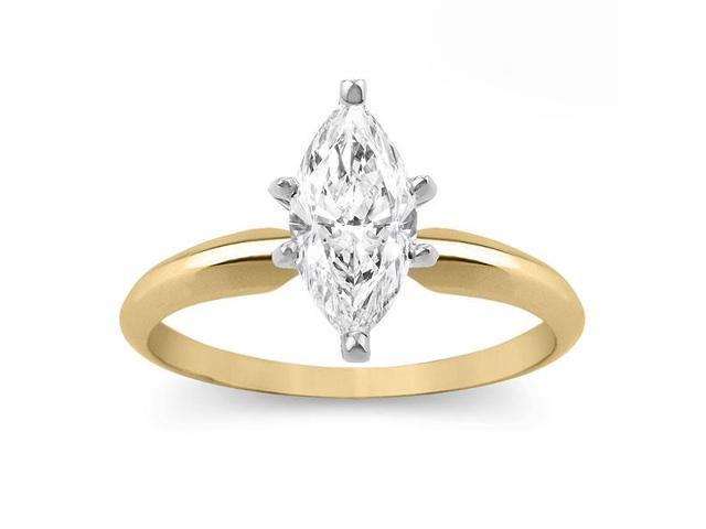 14k Yellow Gold 1ct Marquise Enhanced Diamond Engagement Solitaire Ring