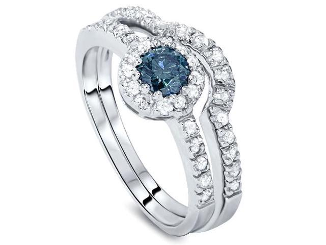 1ct Blue & White Diamond Engagement Ring Set 14K White Gold