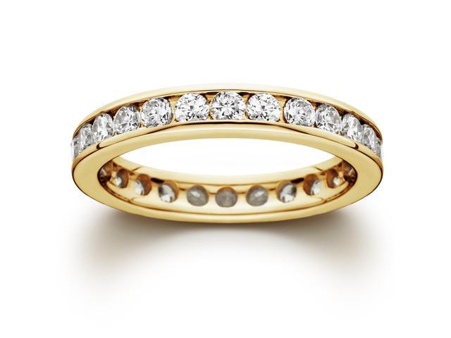 Yellow Gold Stackable 2ct Channel Set Eternity Ring 14k Womens Band
