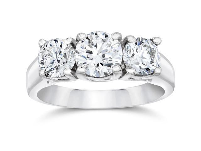 2ct 3-stone Round Lab Created Diamond Engagement 14K White Gold Ring