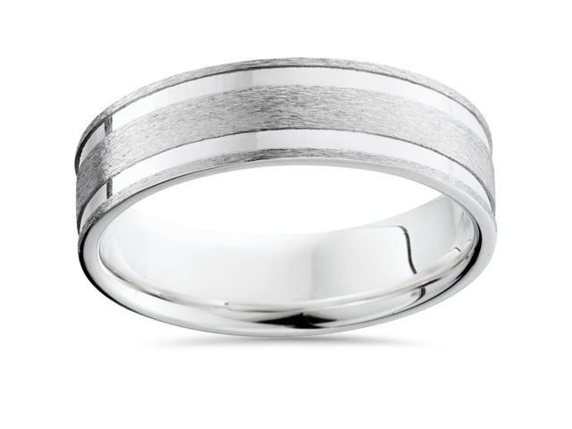 Double Channel Brushed Wedding Band 950 Platinum