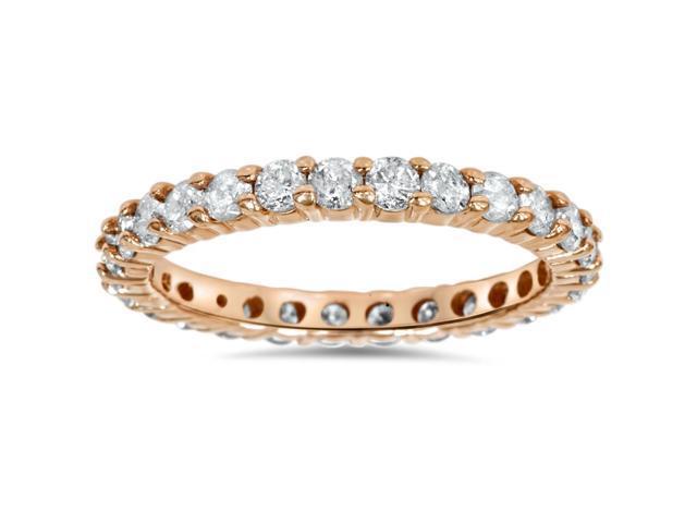 1 1/2ct Diamond Eternity Wedding Ring 14K Rose Gold