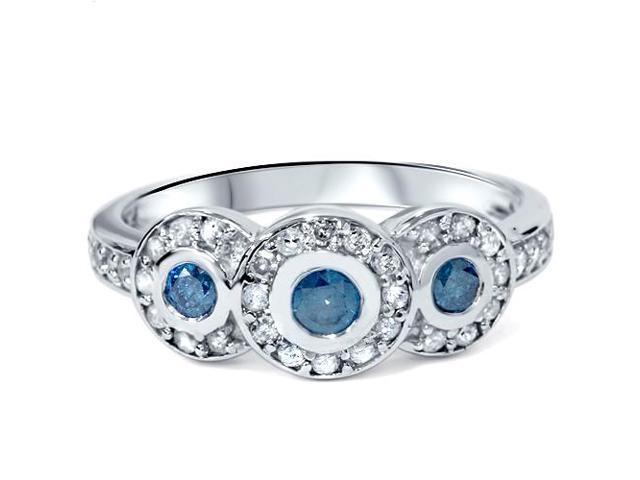 3/4ct Three Stone Treated Blue Diamond Engagement Ring 14k White Gold Halo Bezel