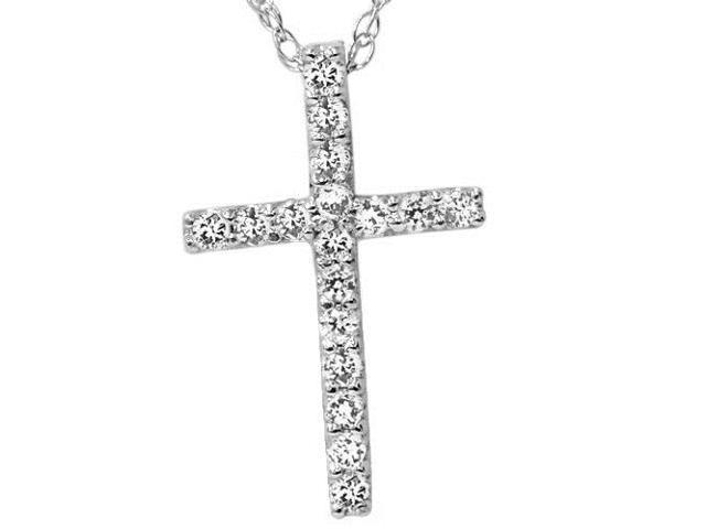 1/10ct Diamond Cross Pendant 10K White Gold 1/2