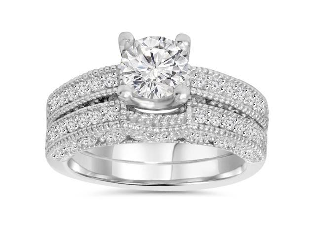 1 1/2ct Antique Diamond Bridal Ring Set Solid 14K White Gold