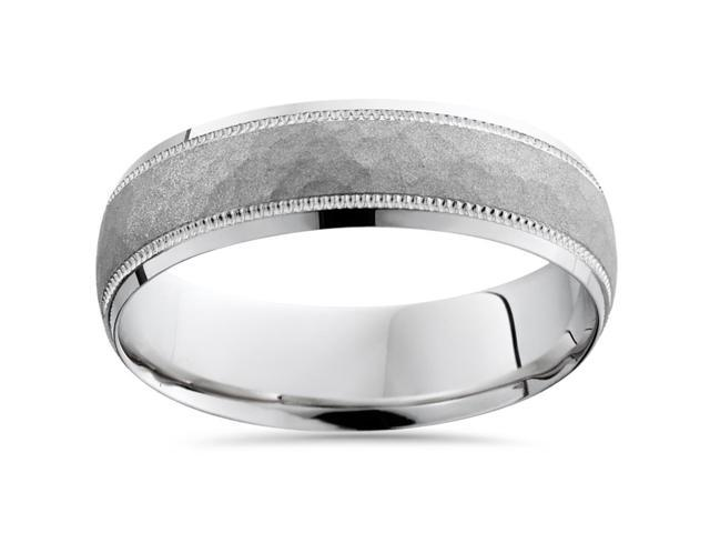 Hammered Wedding Band 14K White Gold