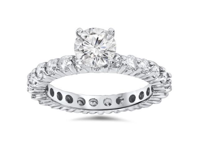 2ct Diamond Eternity Engagement Ring 14K White Gold