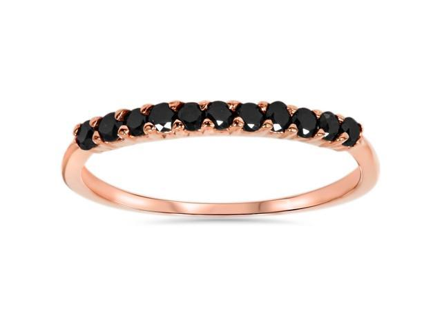 Rose Gold 1/4ct Treated Black Diamond Wedding Anniversary Ring 14Karat
