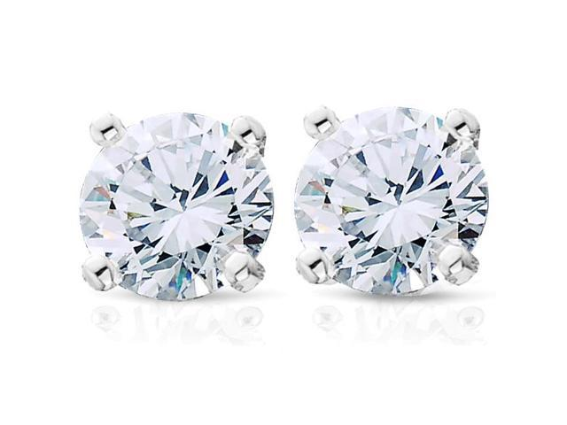 7/8ct Diamond Studs Solid 14K White Gold