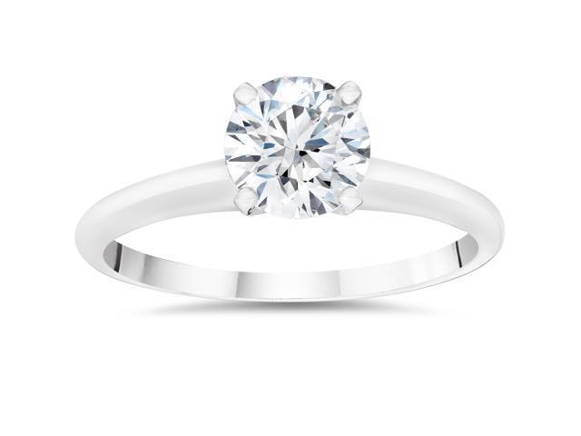 5/8ct Solitaire Round Diamond Engagement Ring 14K White Gold