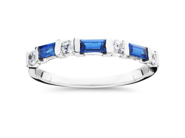 5/8ct Treated Blue Sapphire & Diamond Wedding Stackable Ring 14K White Gold
