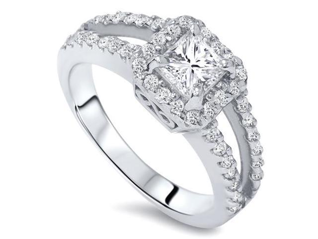 1ct Halo Split Shank Diamond Ring 14K White Gold