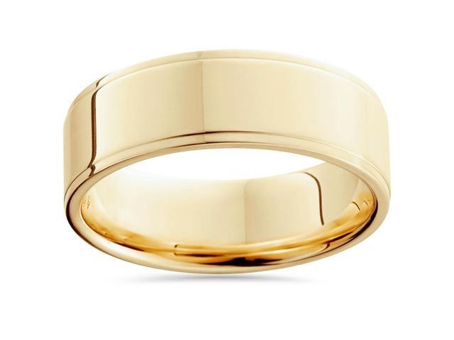 Flat Step Cut Wedding Band 14K Yellow Gold