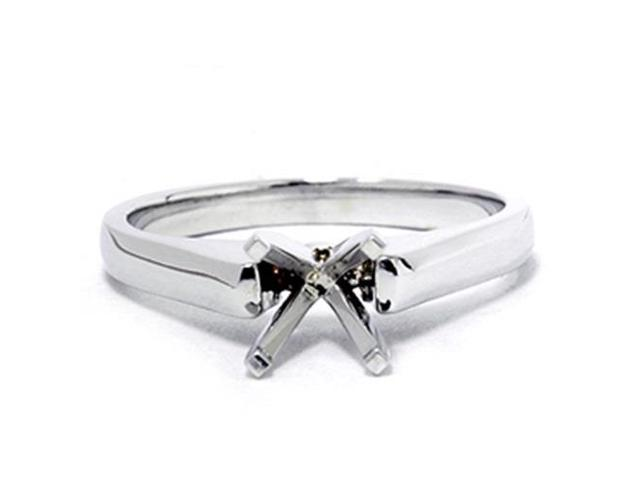 Solitaire Semi Mount White Gold Ring Setting Cathedral