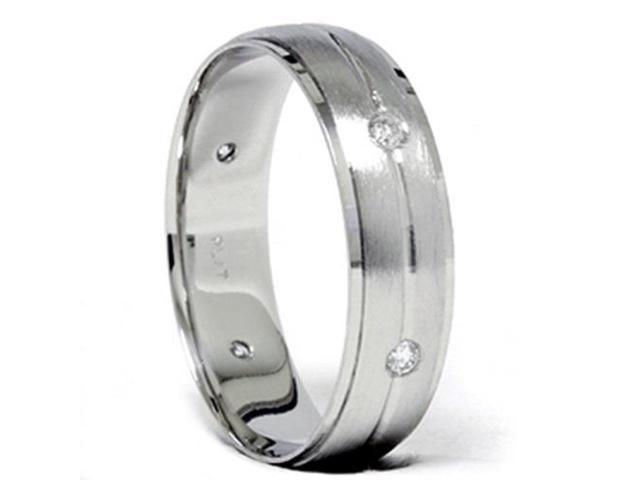 Mens 14K White Gold Brushed Diamond Wedding Band Ring