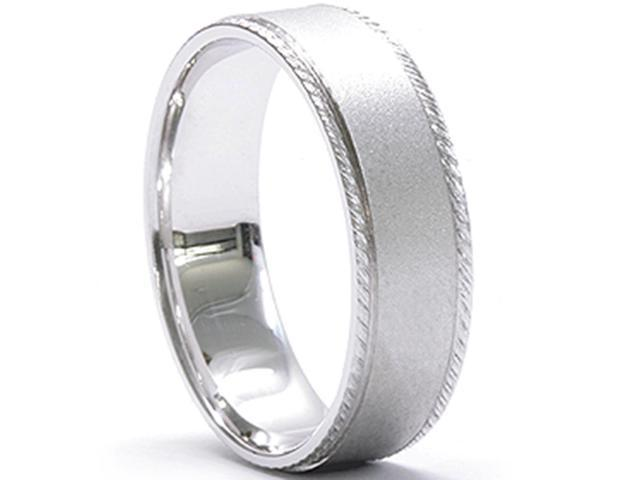 Mens Hand Braided Wedding Band 14K White Gold