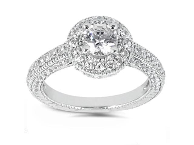 Womens 2ct Enhanced Diamond Vintage Hand Engraved Engagement Ring Solid 14K Gold