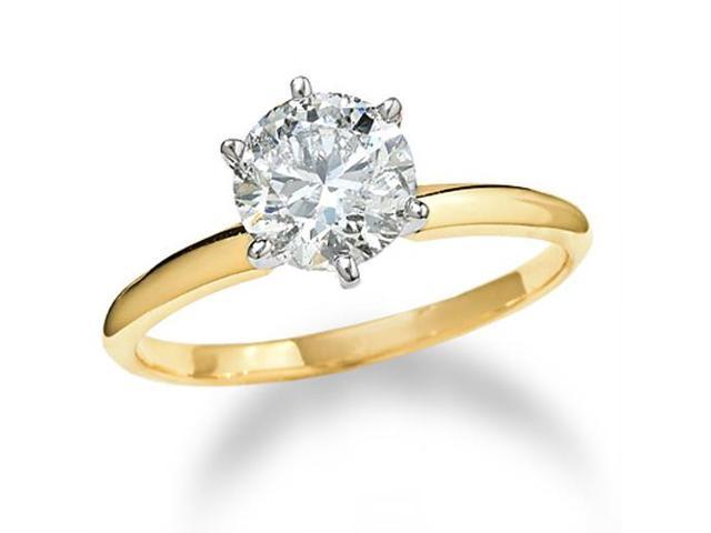 14k Yellow Gold 1 1/2 ct Round Solitaire Diamond Engagement Ring Enhanced