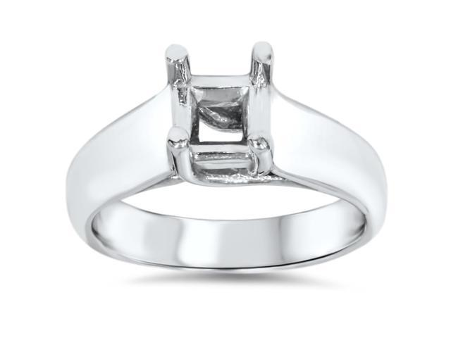 Solitaire Princess Cut Ring Setting 14K White Gold