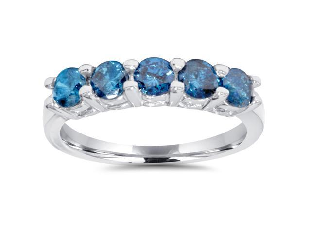 3/4ct Blue Diamond Wedding Ring 14K White Gold