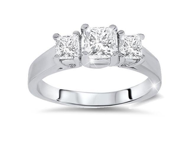 1ct Three Stone Ring 14K White Gold