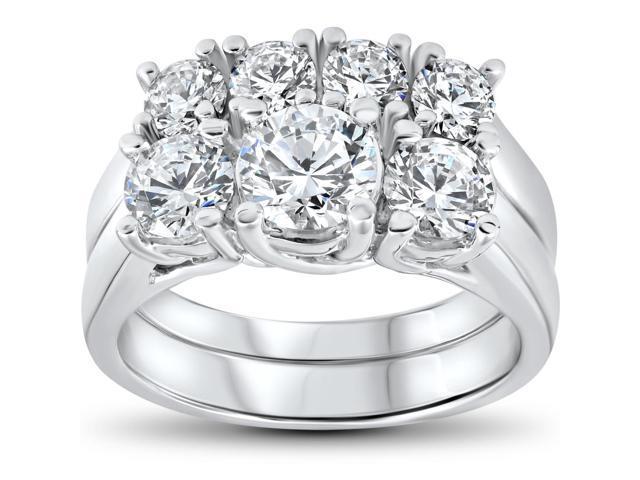 3 ct Diamond Engagement Wedding Ring Set 3-Stone Matching Band 14k White Gold