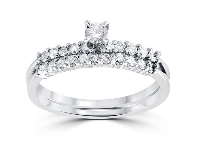 5/8ct Diamond Engagement Wedding Ring Set 14K White Gold Round Solitaire Cut