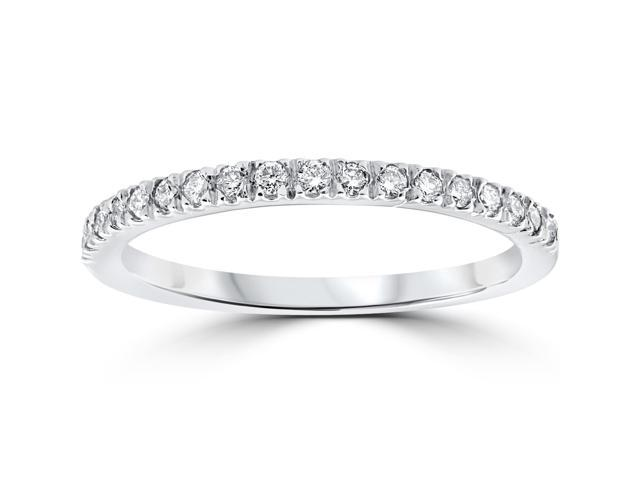 1/3 ct Pave Diamond Wedding Ring Womens Stackable Band 14K White Gold