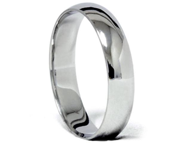 14k White Gold 5mm Plain Comfort Fit Wedding Band