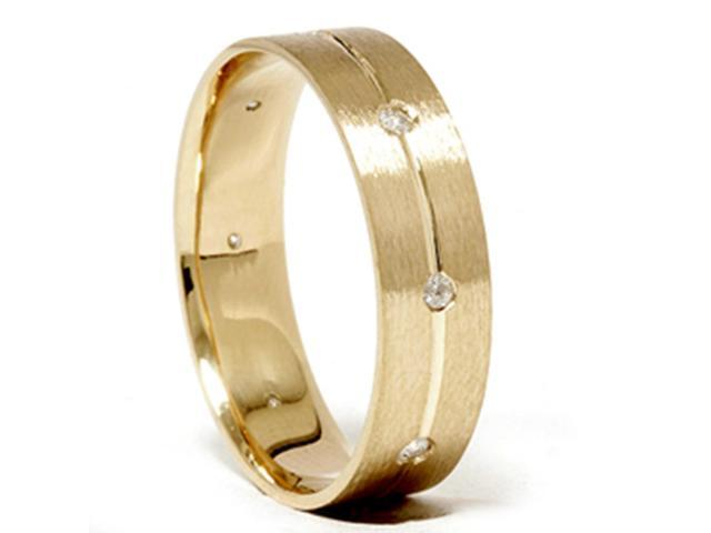 Mens Comfort Fit Bezel Diamond Wedding Gold Band Ring