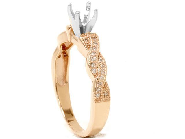 1/5ct Pave Diamond Heirloom Ring Setting 14K Rose Gold