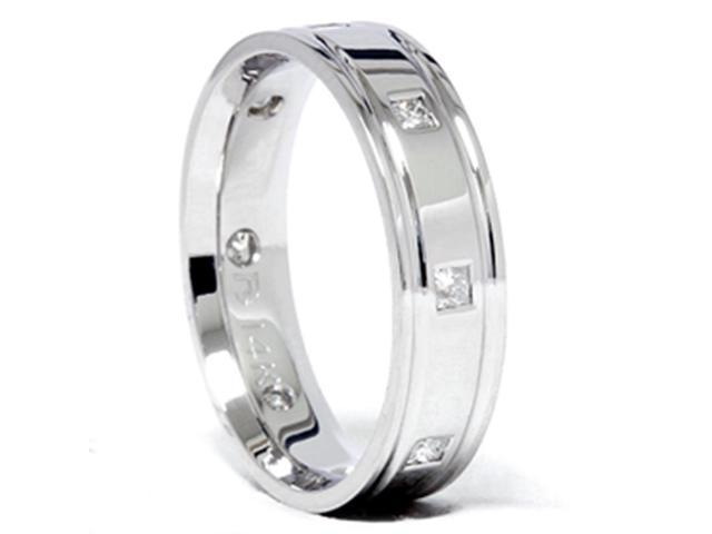 Mens Princess Cut Diamond Comfort Fit 14K Wedding Band