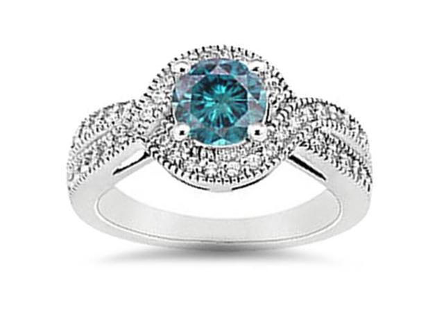 1ct Vintage Halo Treated Blue Diamond Engagement Ring 14K White Gold Round Cut