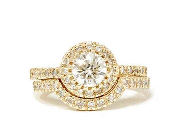 14k Yellow Gold 1 1/2ct Enhanced Diamond Halo Engagement Wedding Ring Matching