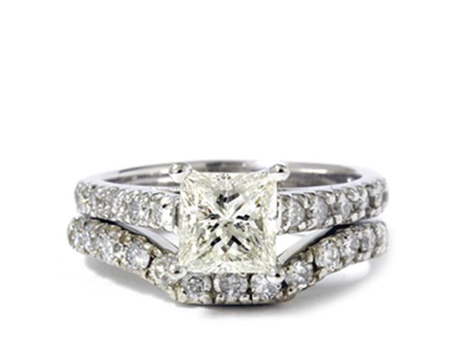 1 1/2ct Enhanced Princess Cut Diamond Engagement Ring Matching Wedding Band Set