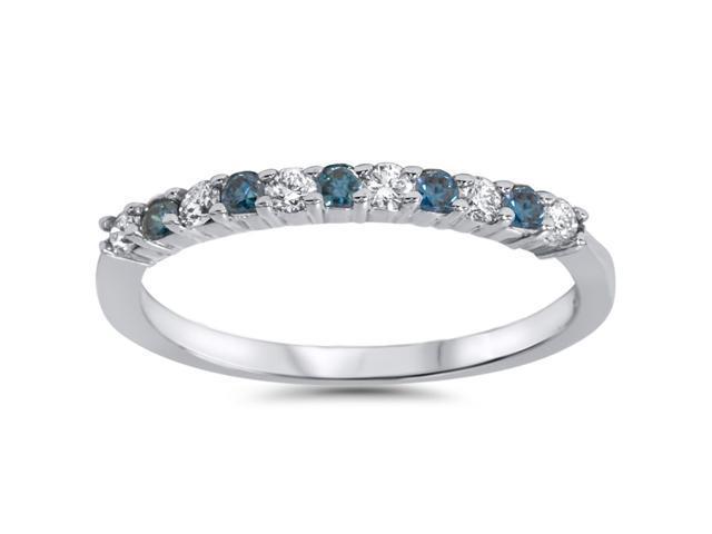 1/4ct Treated Blue & White Diamond Anniversary Ring 14K