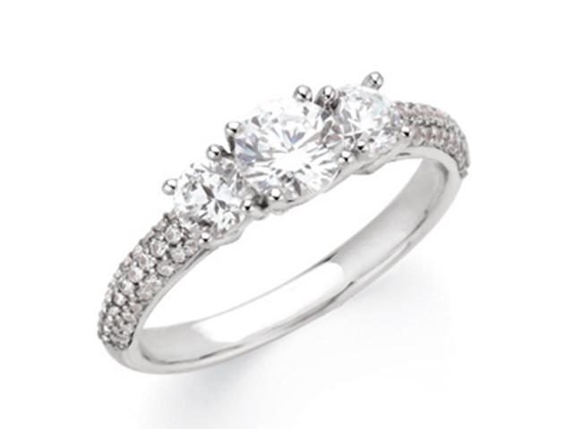 1 1/4ct Pave Three Stone Diamond Ring 14K White Gold