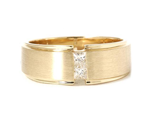 Mens Gold Princess Cut Diamond Brushed Wedding Ring