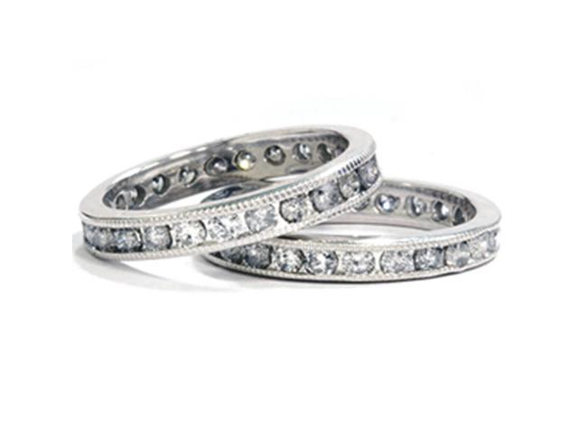 3ct Diamond Eternity Milgrain Wedding Ring Guard Set