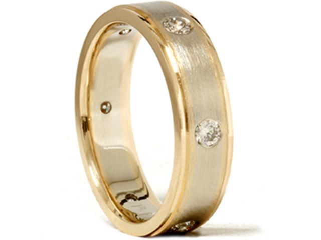 Mens 3/4ct 14K Gold Diamond Comfort Fit Wedding Ring