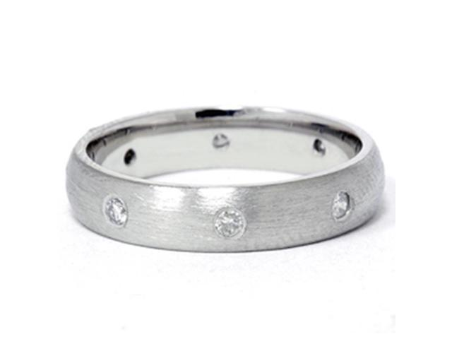 950 Platinum Diamond Comfort Fit Brushed Wedding Band