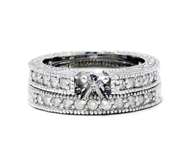 1/2ct Vintage Diamond Engagement Wedding Ring Setting Set
