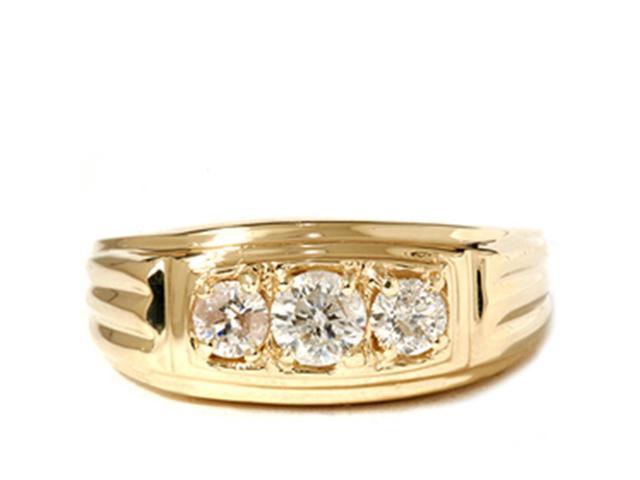 Mens 3/4CT Three Stone Diamond Wedding Anniversary Ring 14K Yellow Gold