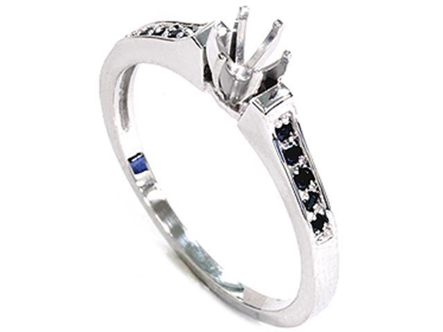 White Gold 1/6ct Black Diamond Engagement Ring Setting
