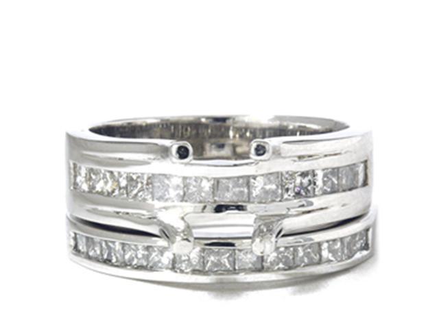 1 1/4ct Princess Cut Diamond Engagement Ring Setting Set