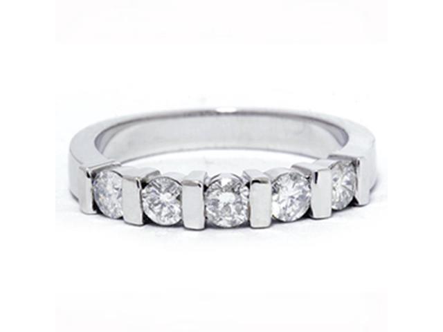 1/2ct 5-Stone Diamond Wedding White Gold Bridal Ring