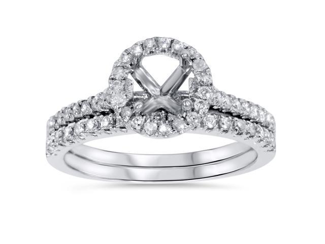 1/2ct Halo Diamond Engagement Wedding Ring Set 14K White Gold